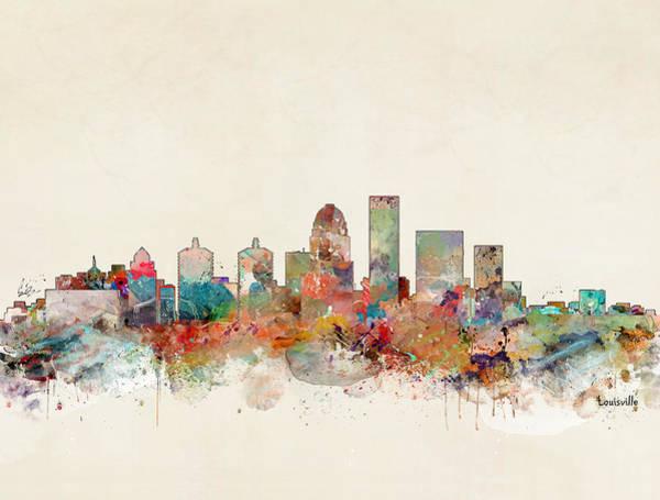 City Landscape Wall Art - Painting - Louisville City Skyline by Bri Buckley