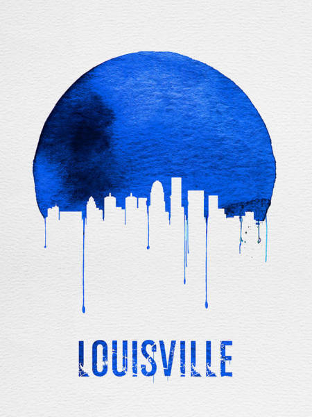Wall Art - Painting - Louisville Skyline Blue by Naxart Studio