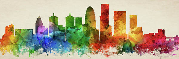 Wall Art - Digital Art - Louisville Skyline Panorama Uskylo-pa03 by Aged Pixel