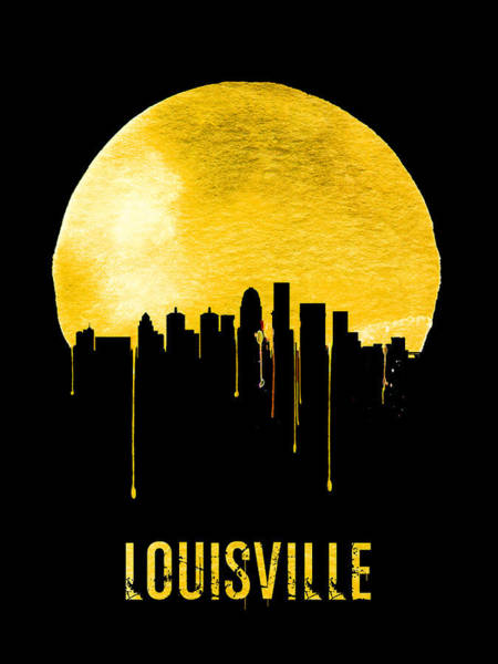 Wall Art - Painting - Louisville Skyline Yellow by Naxart Studio