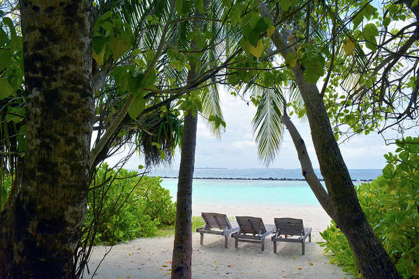 Photograph - Lounge Chairs On The Beach In Maldives by Oana Unciuleanu