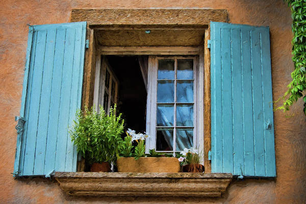 Lourmarin Photograph - lourmarin, provence, France, blue shutters  by Curt Rush