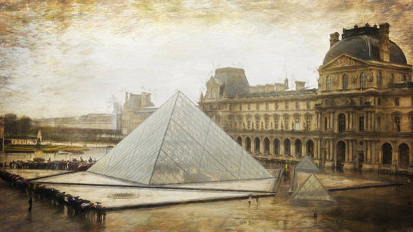 Napoleon Photograph - Louvre And Pyramid In The Rain by Joan Carroll