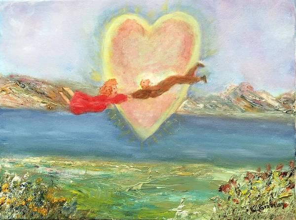 Wall Art - Painting - Love Across The Waters by Lessandra Grimley