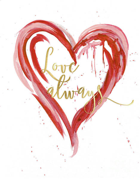Heart Gold Painting - Love Always Modern Heart W Gold by Audrey Jeanne Roberts