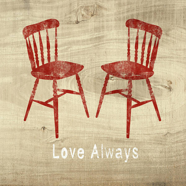 Love Always Red Chairs- Art By Linda Woods Art Print