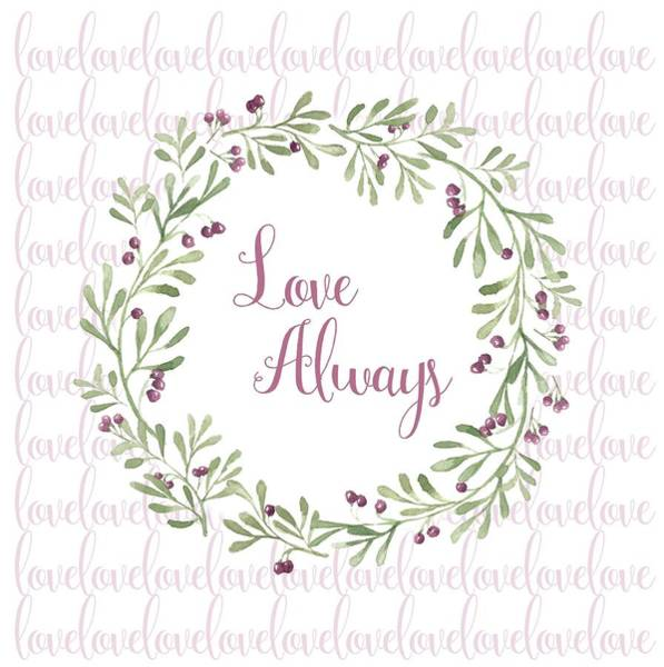 Sweetheart Digital Art - Love Always Wreath Pink And Green Square by Terry DeLuco