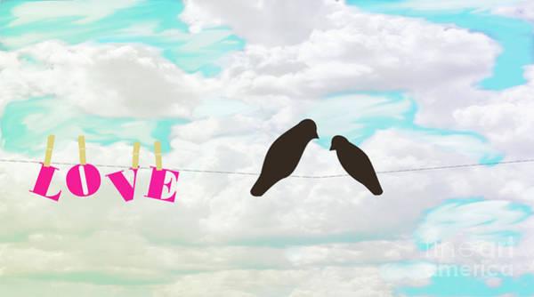 Dirty Laundry Digital Art - Love Birds Love Line by Priscilla Wolfe
