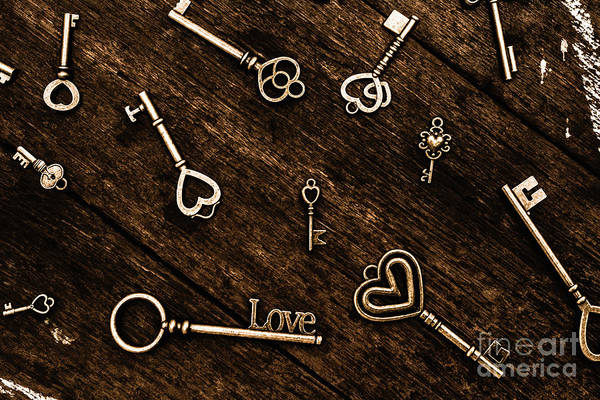 Photograph - Love And Romance Themed Keys With Hearts by Jorgo Photography - Wall Art Gallery