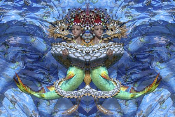 Serpent Digital Art - Love And War Mirrored Custom by Betsy Knapp