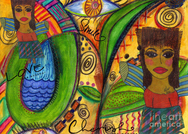 Divine Love Mixed Media - Love Angels by Angela L Walker