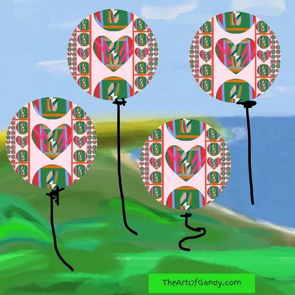 The Art Of Gandy Wall Art - Digital Art - Love Balloons Protecting Guam by Joan Ellen Gandy