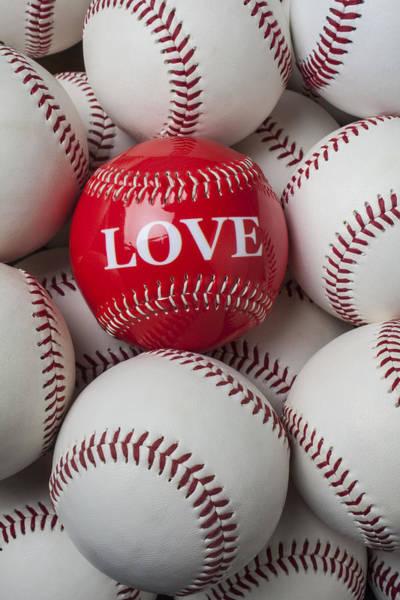 Word Play Photograph - Love Baseball by Garry Gay