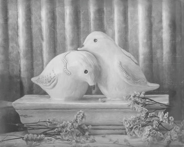 Photograph - Love Birds - Black And White Version by Teresa Wilson