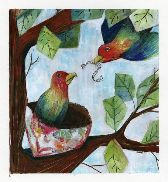 Wall Art - Mixed Media - Love Birds by Kristy Lankford