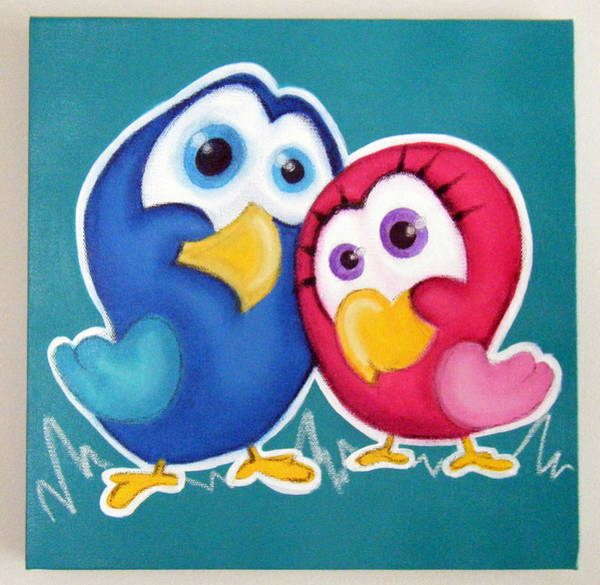 Morea Wall Art - Painting - Love Birds by Mara Morea