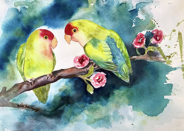 Painting - Love Birds On Branch by Hilda Vandergriff