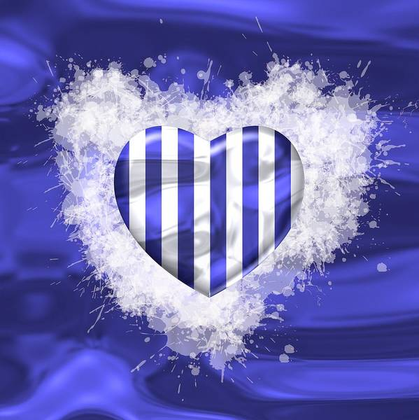 Digital Art - Love Blue And White Strepes by Alberto RuiZ