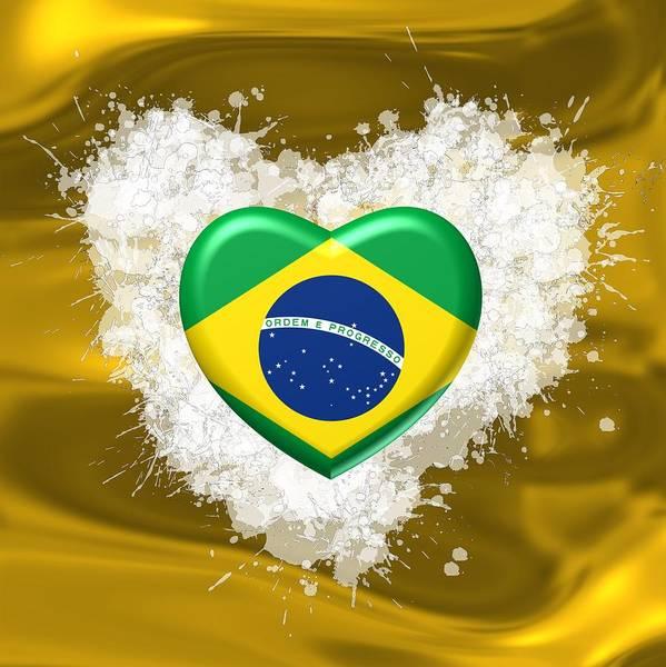 Digital Art - Love Brazil Heart by Alberto RuiZ
