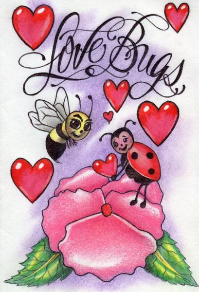Lady Bug Drawing - Love Bugs by Michele ODonnell