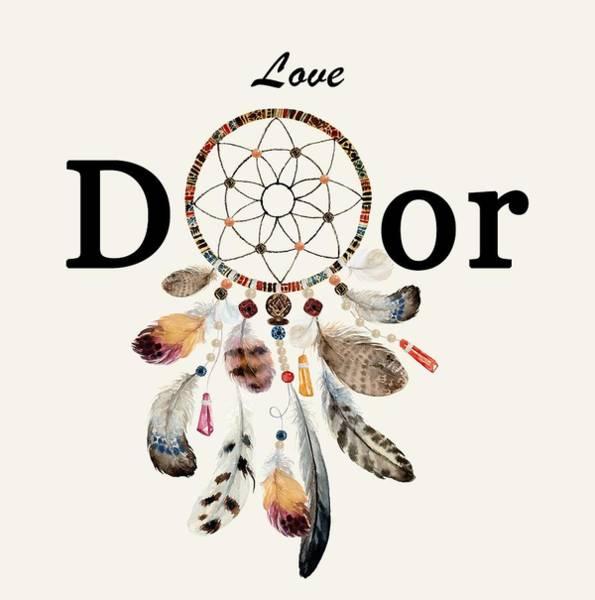 Painting - Love Dior Watercolour Dreamcatcher by Georgeta Blanaru
