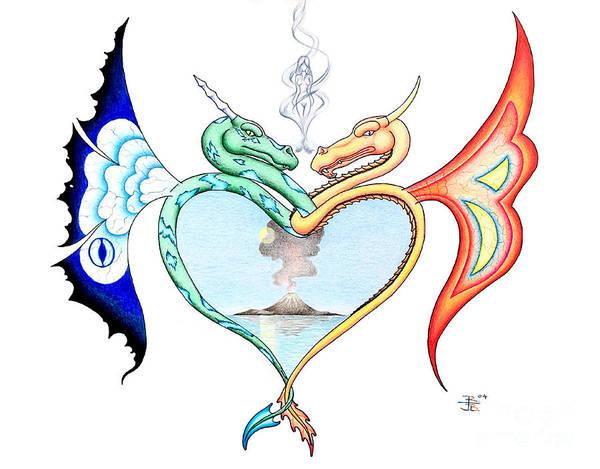 Fire Ball Wall Art - Drawing - Love Dragons by Robert Ball