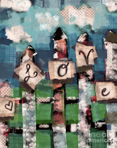 Love Letter Mixed Media - Love Fence by Carrie Joy Byrnes