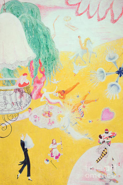 Imaginative Painting - Love Flight Of A Pink Candy Heart by  Florine Stettheimer