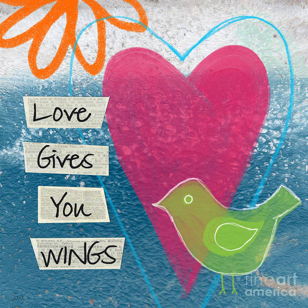 Blue Heart Wall Art - Mixed Media - Love Gives You Wings by Linda Woods
