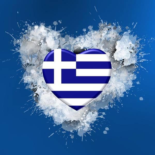 Digital Art - Love Greece Over Bright Blue by Alberto RuiZ