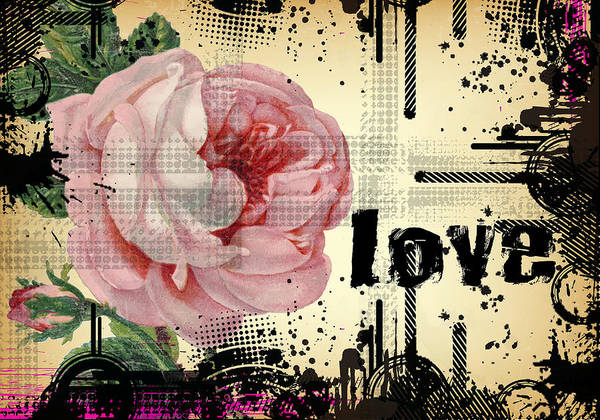 Digital Art - Love Grunge Rose by Robert G Kernodle