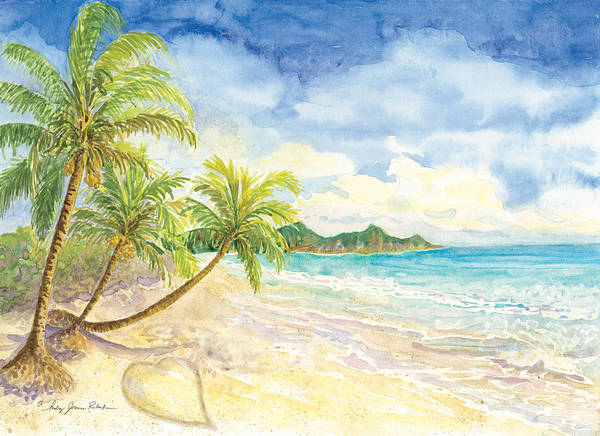 Honeymoon Painting - Love Heart On The Tropical Beach With Palm Trees by Audrey Jeanne Roberts
