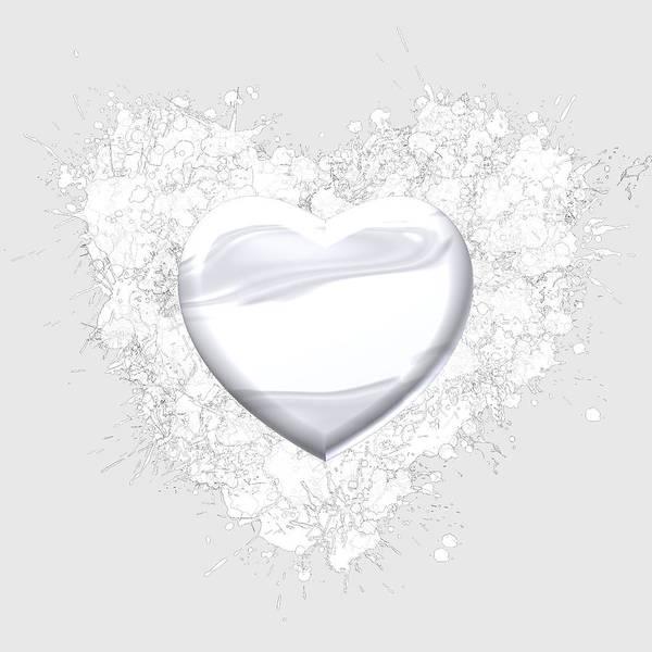 Digital Art - Love Heart White by Alberto RuiZ