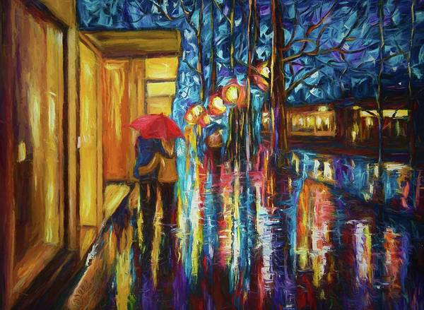 Painting - Love In The Rain by OLena Art Brand