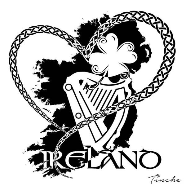 Harp Digital Art - Love Ireland by Tinche InvARTe