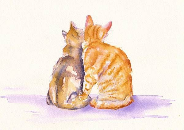 Cat Painting - Love Is... by Debra Hall