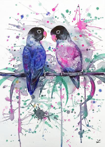 Lovebirds Painting - Love Is In The Air. Lovebirds by Zaira Dzhaubaeva