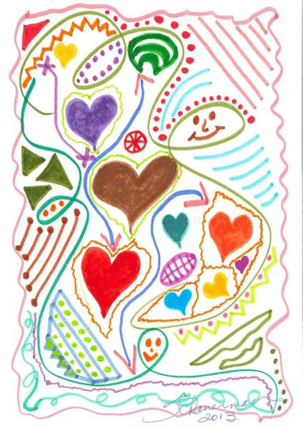 Drawing - Love Is In The Air by Susan Schanerman