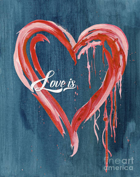 Wall Art - Painting - Love Is Love Retro Typography And Modern Heart by Audrey Jeanne Roberts