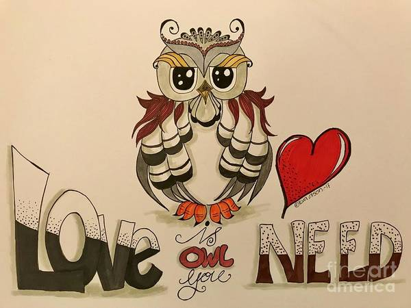 Owl Drawing - Love Is Owl You Need by Eva Ason
