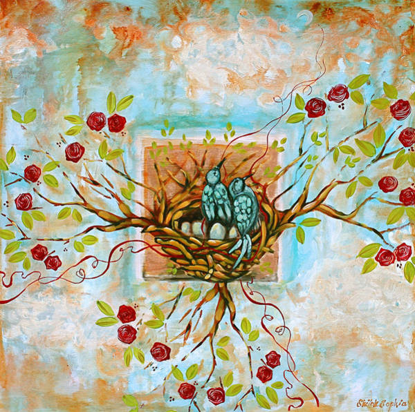 Northern California Wall Art - Painting - Love Is The Red Thread by Shiloh Sophia McCloud