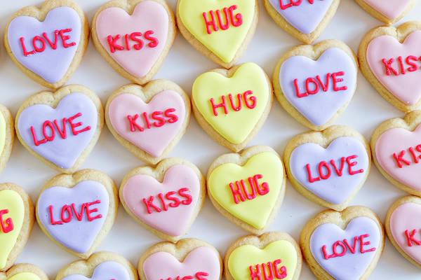 Photograph - Love Kiss Hug Heart Cookies by Teri Virbickis
