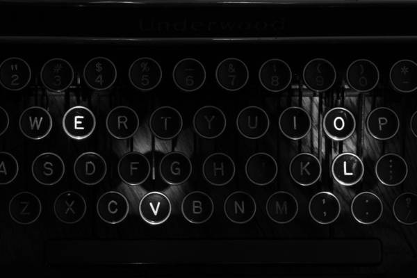 Photograph - Love Letters Vintage Typewriter Keys Black And White by Terry DeLuco