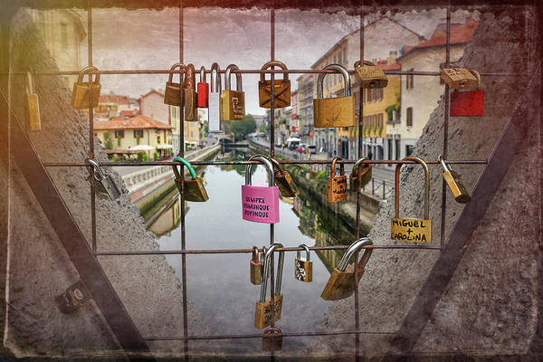 Italia Photograph - Love Lock Triangle At Naviglo Grande Milan Italy  by Carol Japp