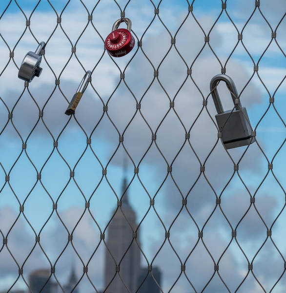 Photograph - Love Locks Fence Empire State Building by Terry DeLuco