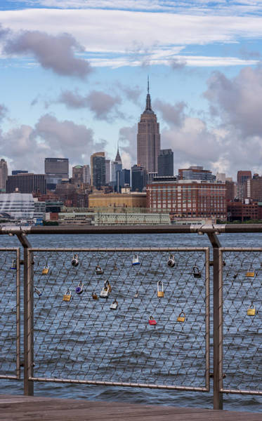 Photograph - Love Locks Hoboken Nyc Skyline by Terry DeLuco