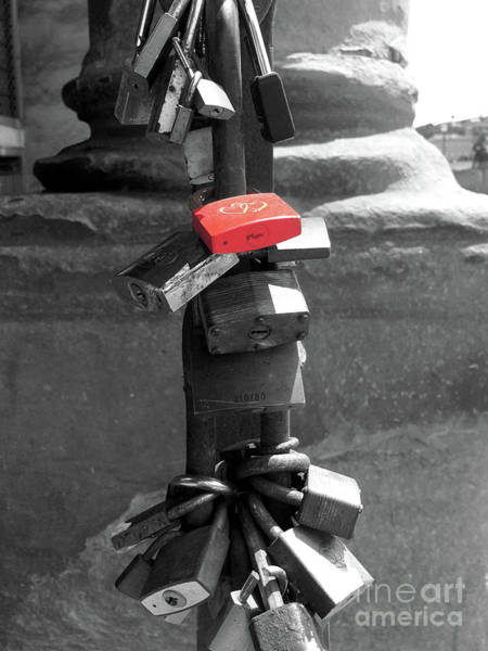 Wall Art - Photograph - Love Locks Near The Arno River In Florence Italy Selective Color by Adam Long