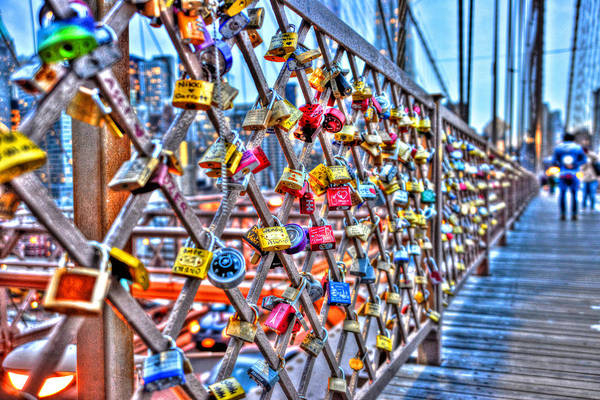 Wall Art - Photograph - Love Locks On The Brooklyn Bridge Too by Randy Aveille