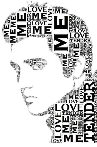 Wall Art - Digital Art - Love Me Tender Elvis Presley Wordart by Alice Gipson