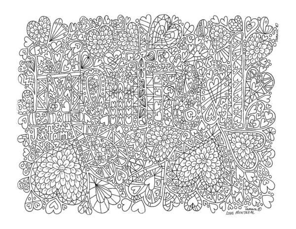 Quebec City Drawing - Love Montreal Full Page by Tamara Kulish